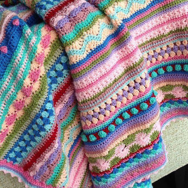 A rayas ganchillo mantas mantas de ganchillo cobijas - Mantas de ganchillo para sofas ...