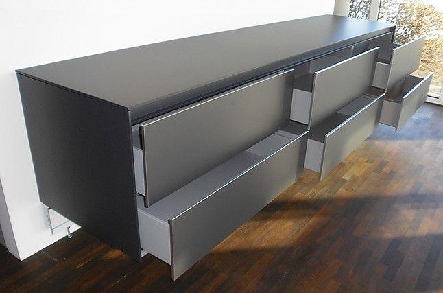 Meiser Hanau kommoden b 3 laminat graphit wandhängendes sideboard als küchen