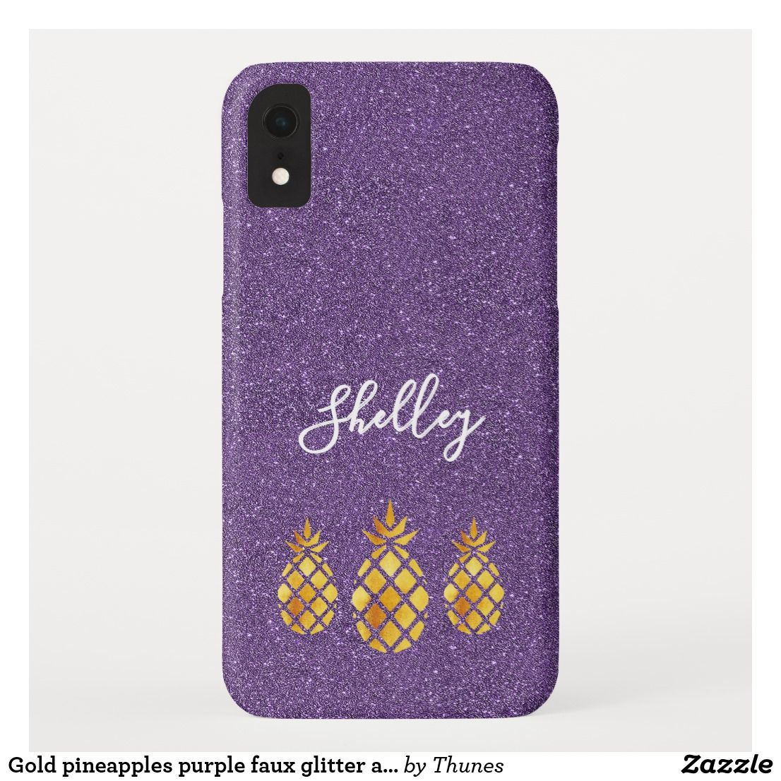 Gold pineapples purple faux glitter add a name CaseMate