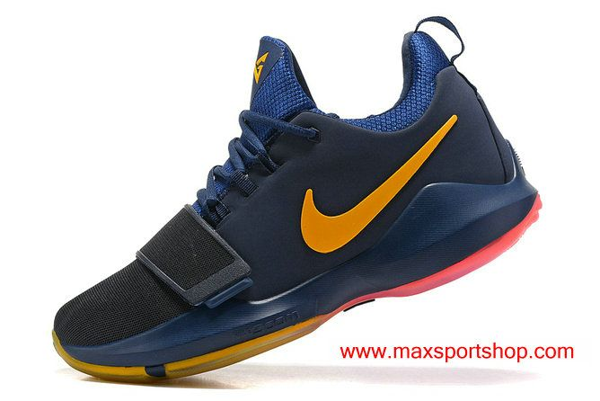 2017 Nike PG 1 iD Dark-blue Yellow Pink Men's Basketball Shoes