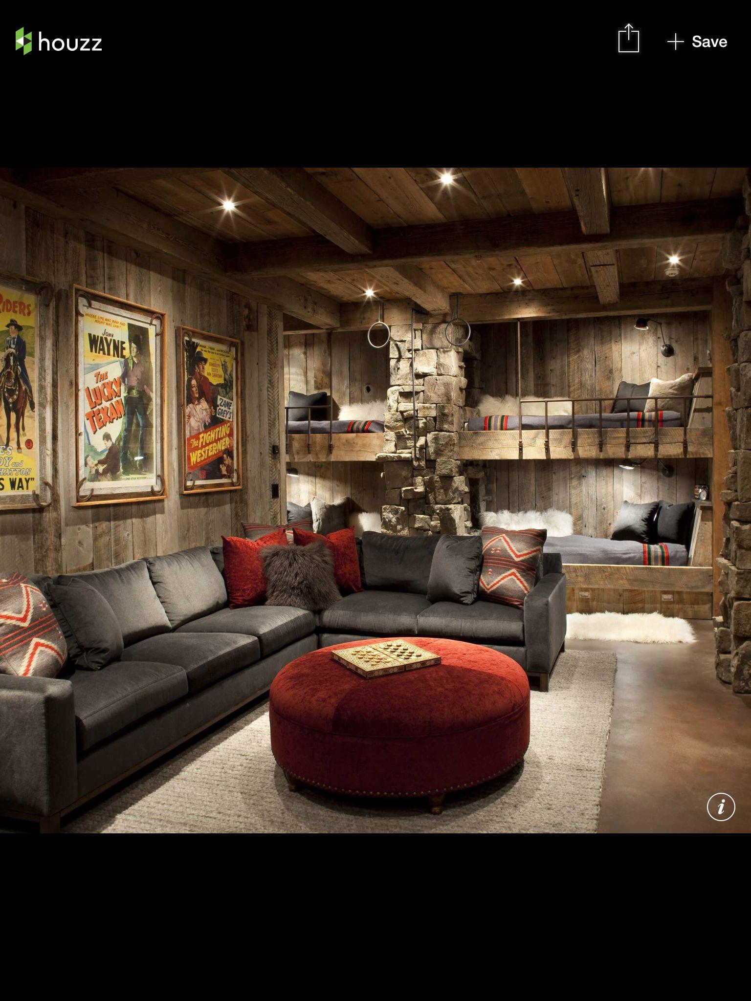 Loft above the garage. Bunk beds | Rustic living room ...