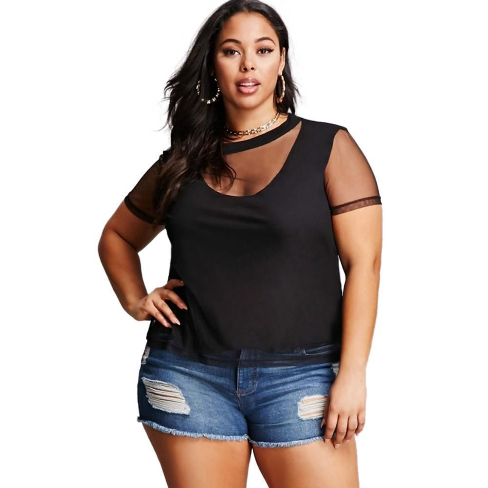 4454c7952f6 kii sexy plus Size sheet shirt Women Mesh Tops T-shirt