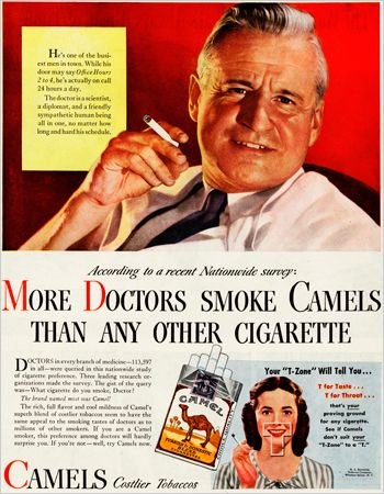 Image result for doctor says smoking healthy ads