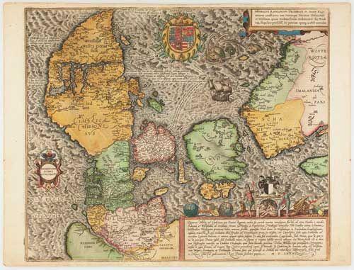 Et Gammelt Kort Over Danmark Fra Slutningen Af 1500 Tallet