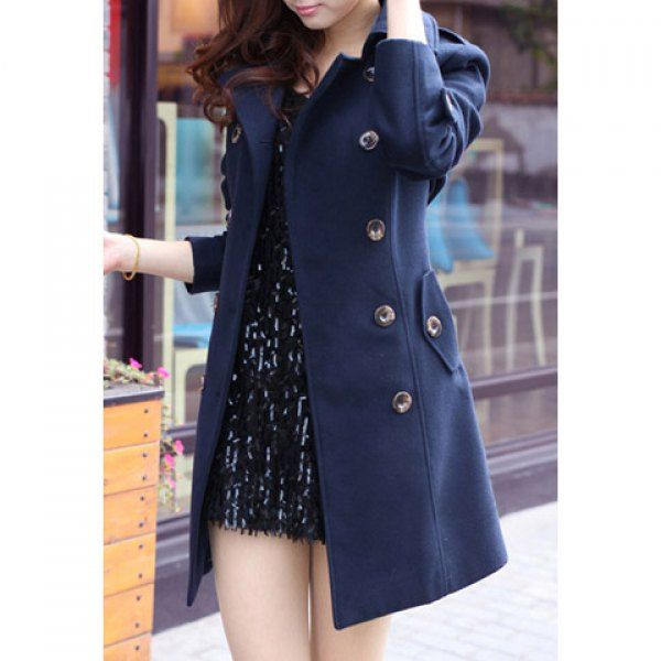 Fashionable Style Worsted Long Sleeves Double-Breasted Women's Coat, NAVY, L in Jackets & Coats | DressLily.com