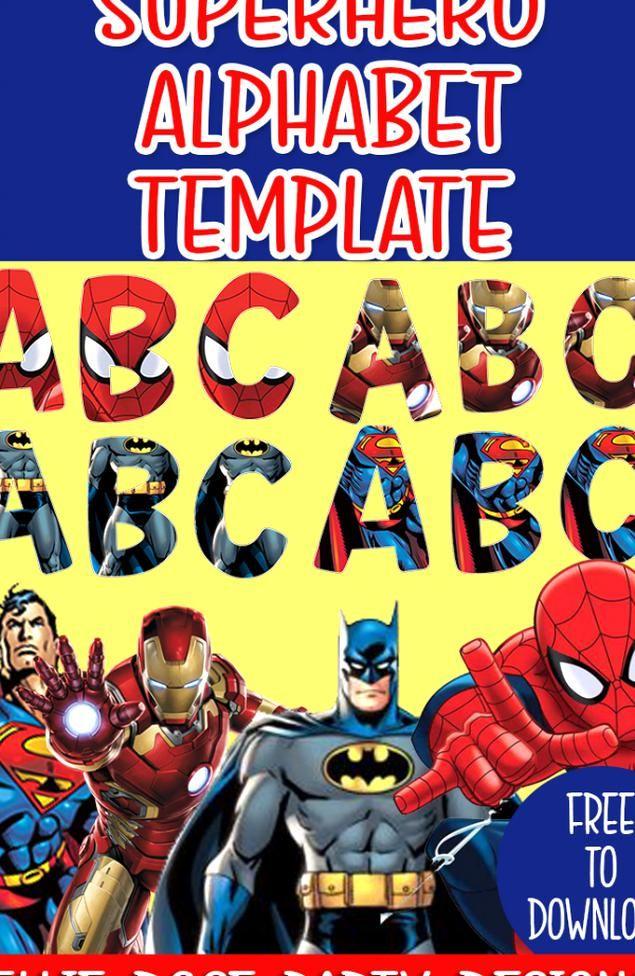 FREE Superhero Alphabet Template ellierosepartydesigns in