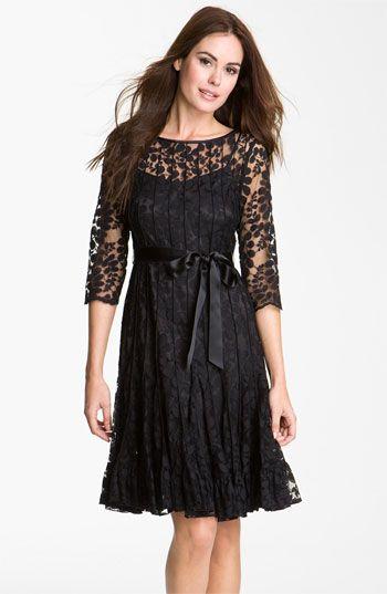 Teri Jon Pintuck Mesh Overlay Dress Nordstrom Fashion