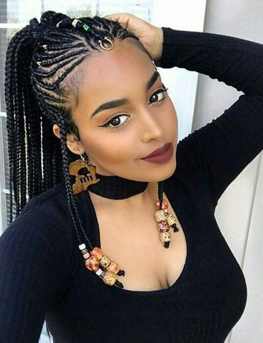 Natural Black Hairstyles Custom Feedin Braidsbeaded Hair Jewelrynaturalblack Hairstyles