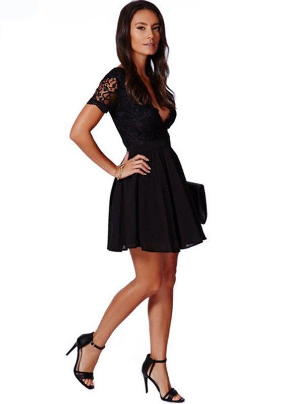 Black Plain Pleated Backless Zipper Lace Deep V-neck Short Sleeve Sexy  Party Mini Dress 5e454dbea