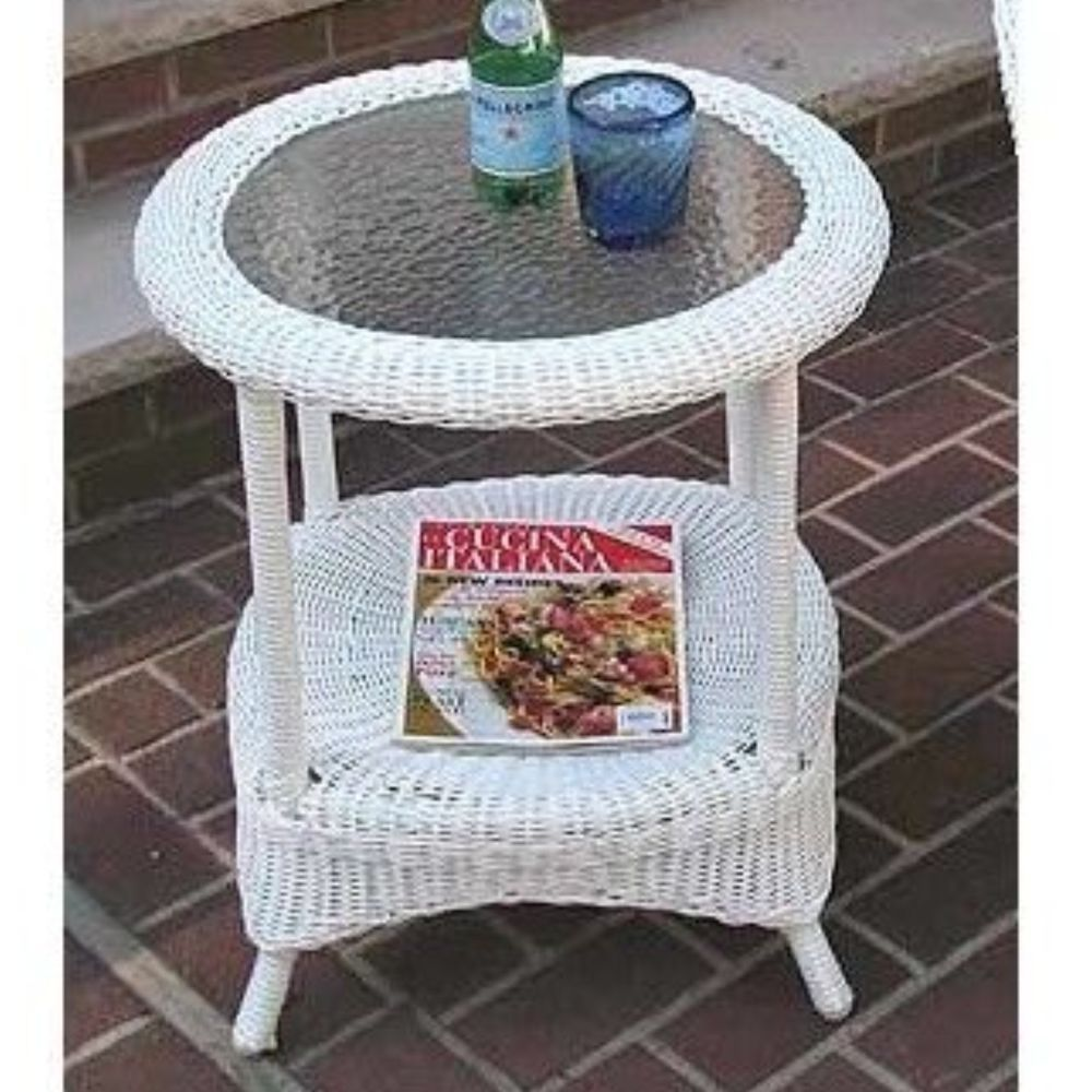 White Wicker Side End Table Glass Top Round With Shelf Outdoor Patio  Furniture