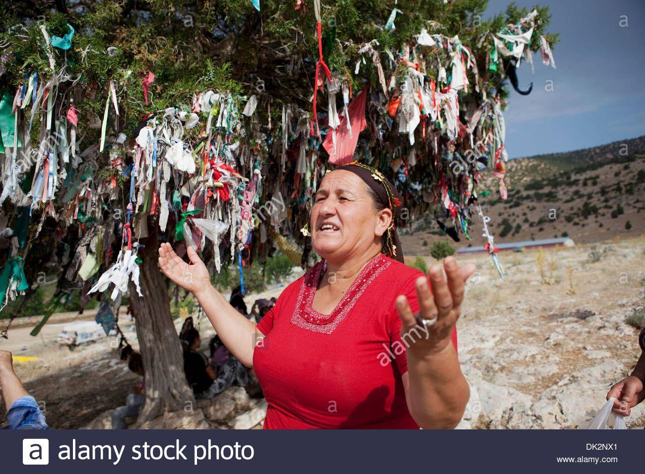 Download This Stock Image Alevi People Tying Ribbons On A Wish Tree In Tekke Ky Abdal Musa Shrine Elmal Antalya Turkey