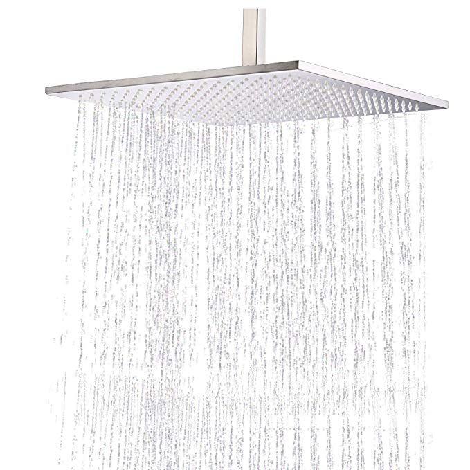 Rozin Bathroom 16 Inch Square Rainfall Shower Head Overhead Spray
