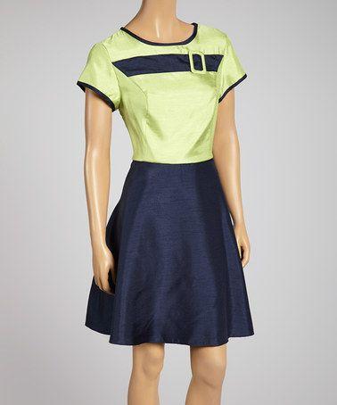 Love this Lime Belt-Accent Cap-Sleeve A-Line Dress by Zoda on #zulily! #zulilyfinds