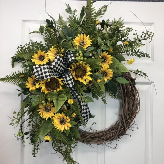Photo of everyday wreath for front door, fall wreath, sunflower wreath, summer wreath, designer wreath, fall floral, fall decor, decoexchange