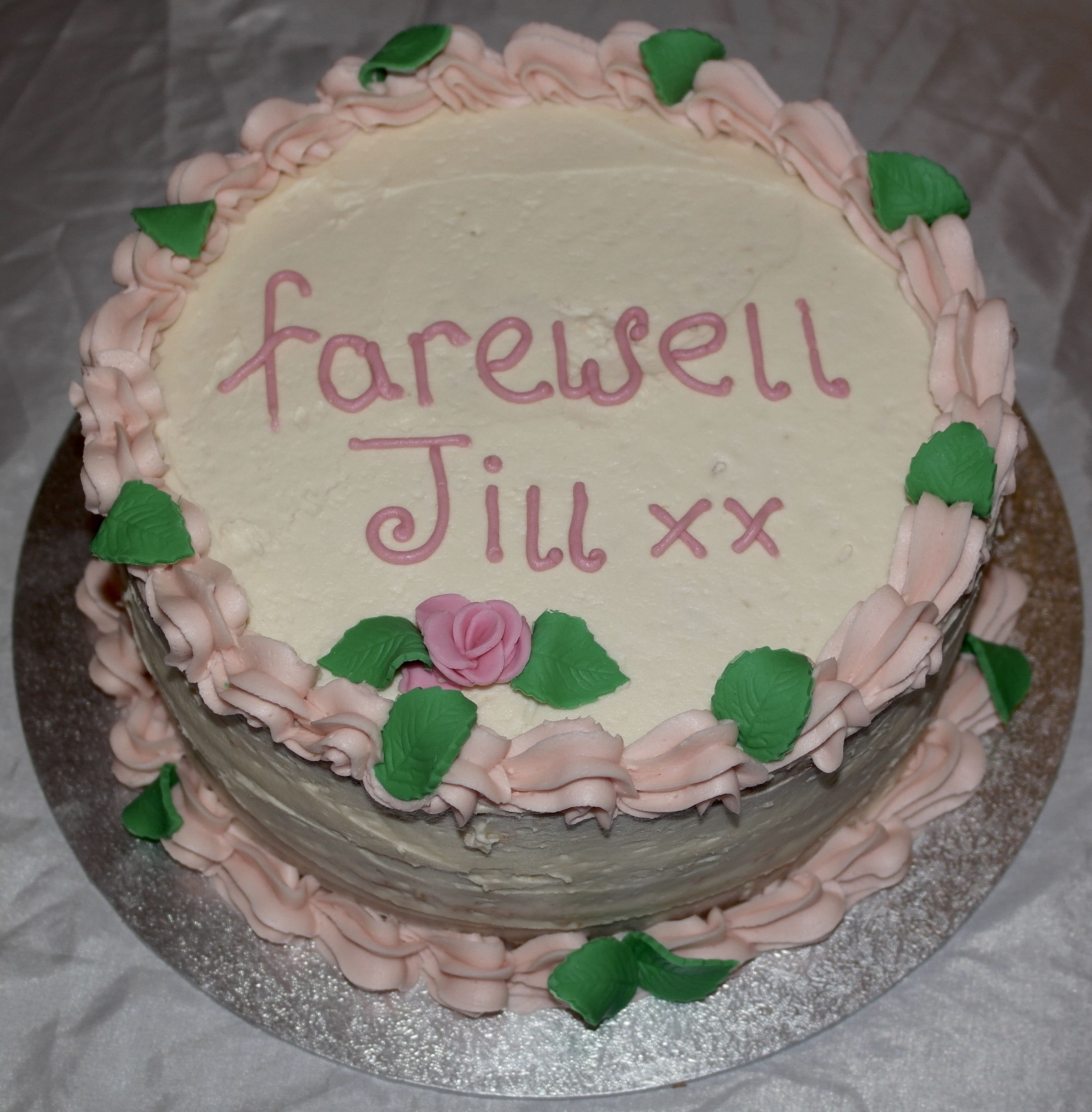 Farewell Cake Vanilla Sponge With Butter Icing And Fondant