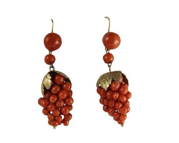 Victorian Coral Grape Bunch Earrings (1)