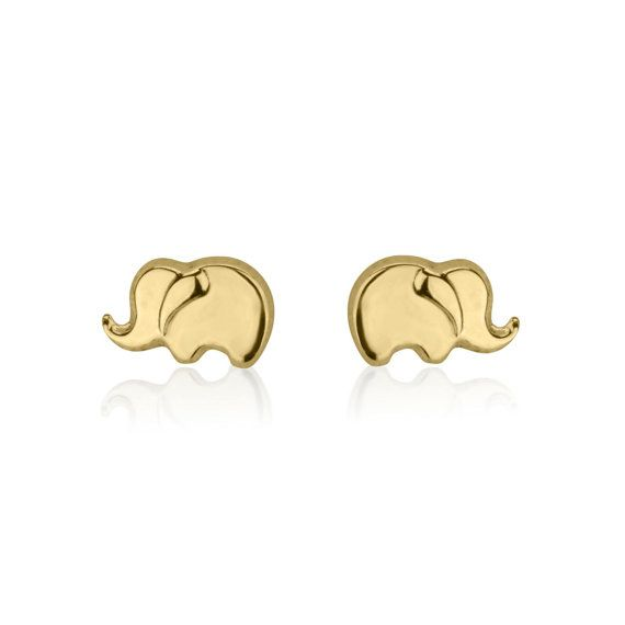 a655e72d0 Solid Gold Earring Studs, Elephant Earrings, 14K Yellow Gold Earrings, Gold  Girls Earrings, Small Stud Earrings, Gift for Kids