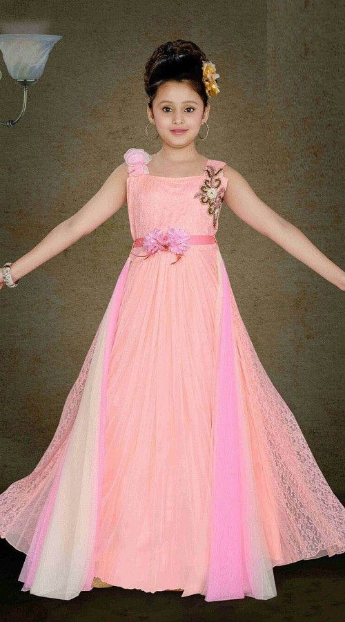 57d06f855d2d Magnificent Light Pink Kids Girl Floor Length Gown DT11748 Fashionable  light pink premium fabric wedding kids gown for your child which is made by  heavy ...