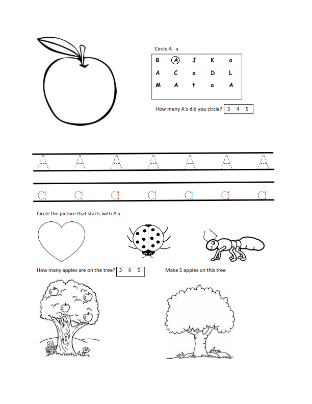 worksheets for 2 year olds free letter a worksheet download - Learning Printables For 2 Year Olds
