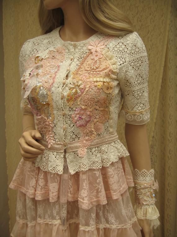 Shabby Chic Ornate Romantic jacket, bead embroidered