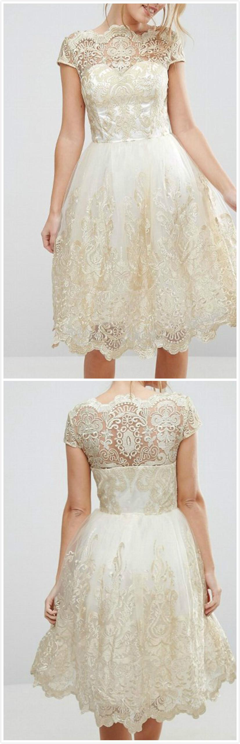 Women\'s Vintage Lace Net Yarn Embroidery Midi Dresses - NOVASHE.com