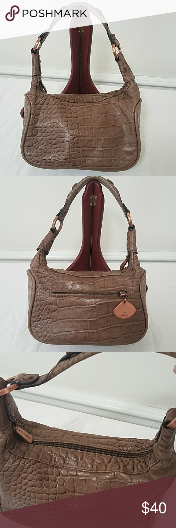 Kesslord Paris Croc Embossed Leather Demi Bag Taupe Brown With Rose