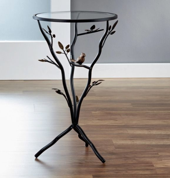 Side End Table Glass Top Small Metal Tree Branch Bird Furniture Bronze Finish ISC Nature