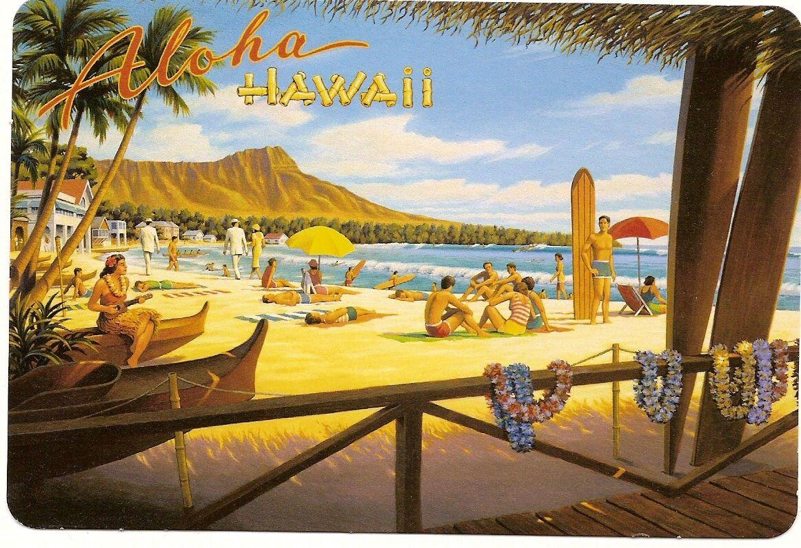 Vintage Hawaii Poster  VINTAGE ART  Hawaii travel