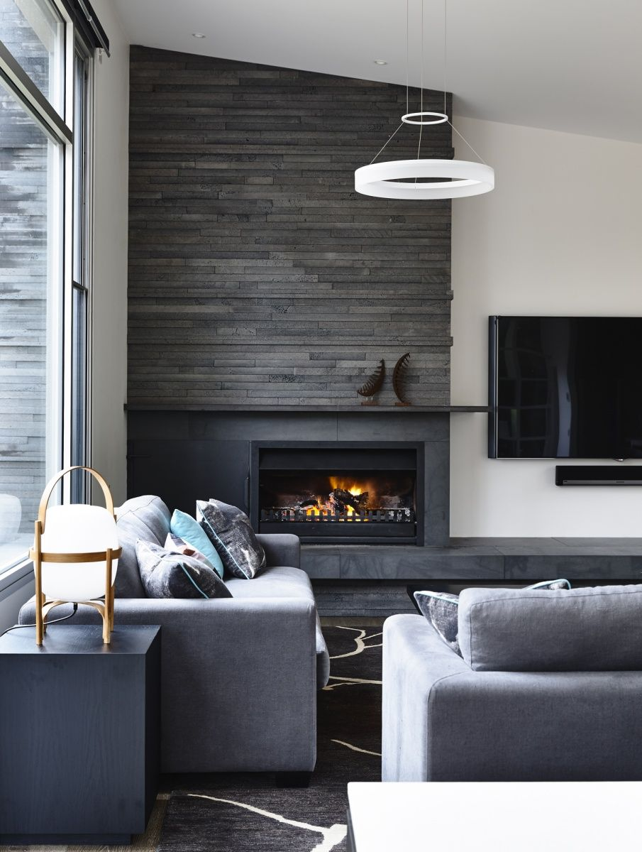 Asymmetrical Fireplace And Tv Wall Google Search Living Room With Fireplace Home Fireplace Living Room Modern