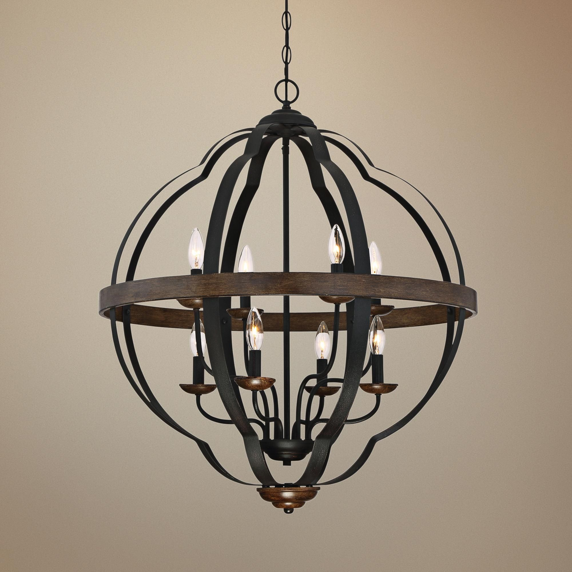 "Quoizel Siren 28""W 8 Light Black Metal Cage Foyer Chandelier"