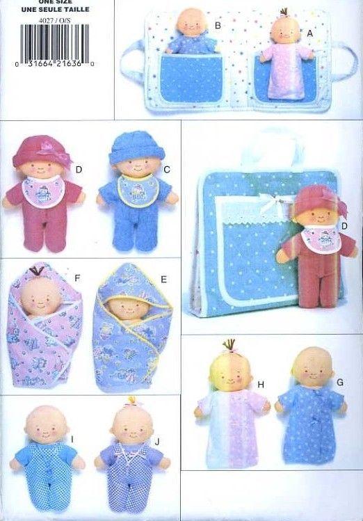 UNCUT Butterick 4027 Pattern Soft Stuffed Twin Baby Dolls w/Clothes