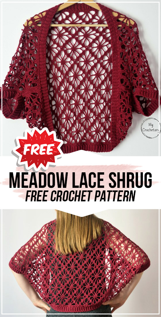 crochet Meadow Lace Shrug free pattern