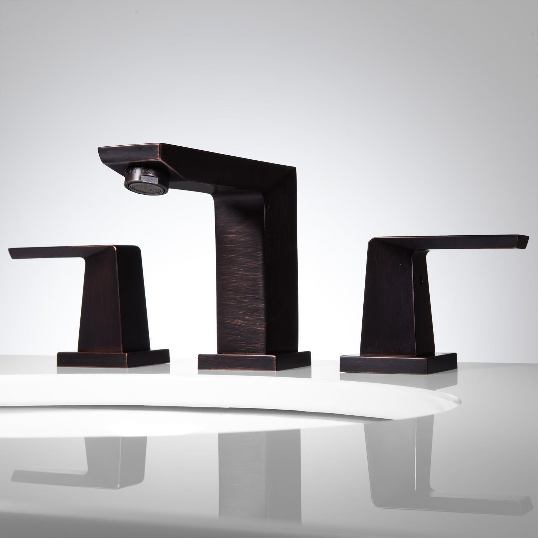 Crisscross Widespread Bathroom Faucet - No Overflow - Dark Antique ...