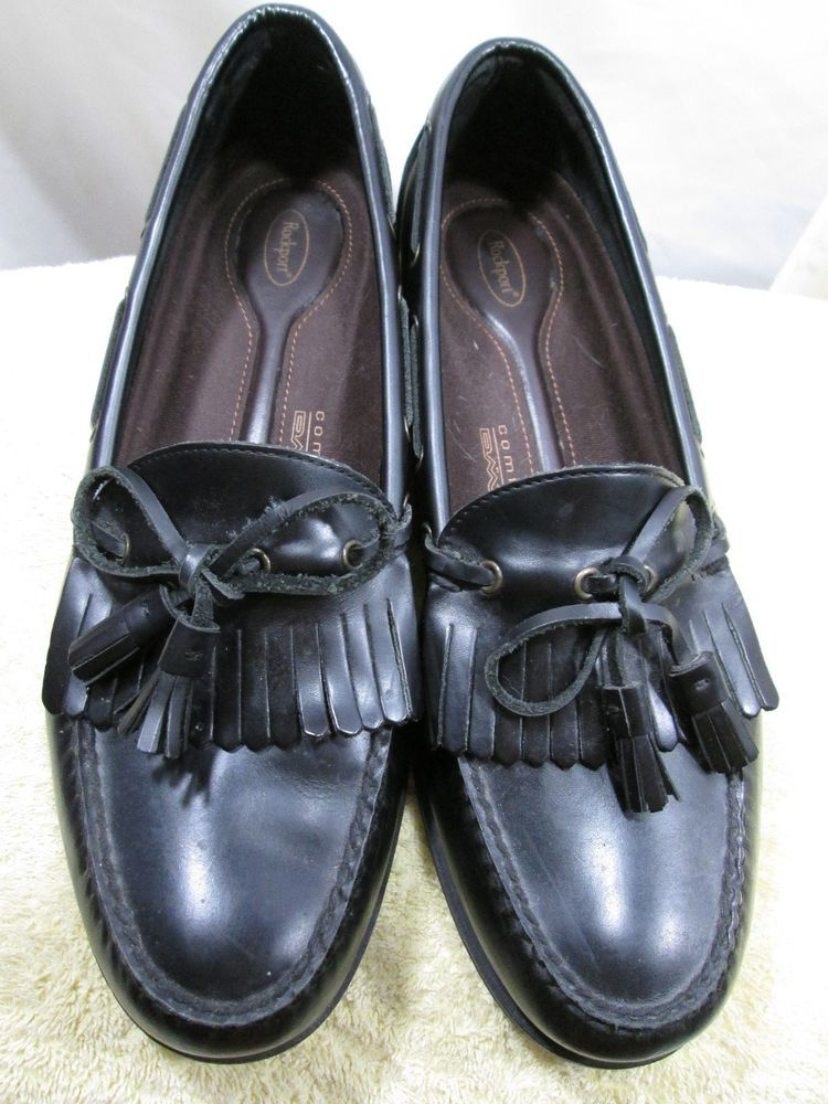 Men's Size 13 M Rockport Black Tasseled Slip On Loafers
