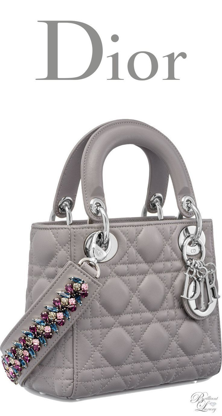 70f3a5842fe3 Brilliant Luxury   Dior Autumn 2016 ~ Mini Lady Dior bag with cannage  topstitching in Montaigne Grey lambskin