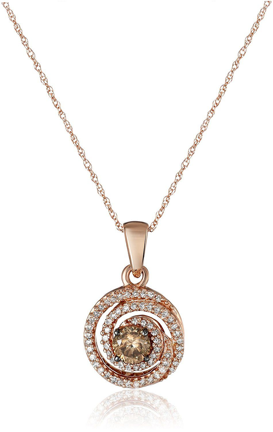 10K Rose Gold Champagne and White Diamond Swirl Pendant Necklace (1/2 cttw), 18' *** Click on the image for additional details. (This is an Amazon Affiliate link)