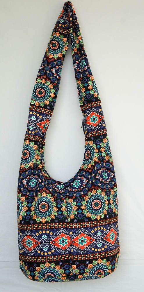 YAAMSTORE bolso hobo con estampado de flora azul bolso bandolera bandolera hippie  – Bolsa