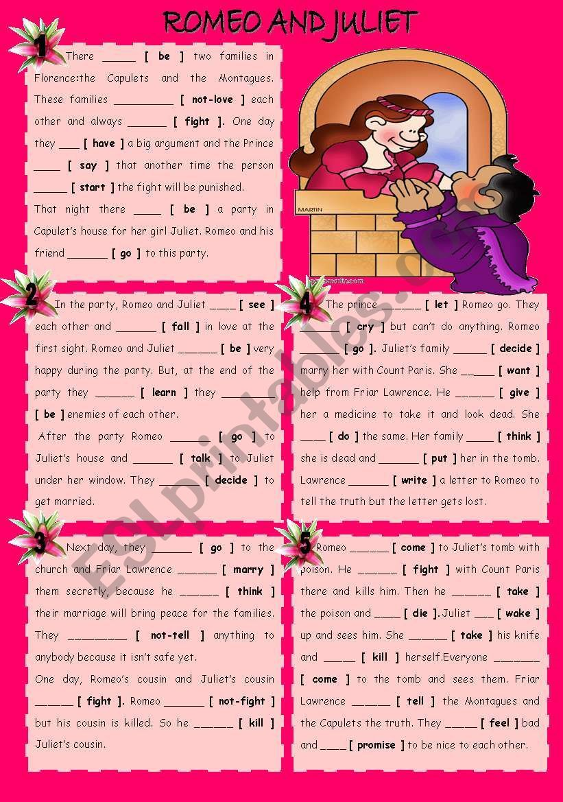 Romeo And Juliet For Valentine S Day Esl Worksheet By Lady Gargara In 2020 Romeo And Juliet Esl Worksheets Romeo