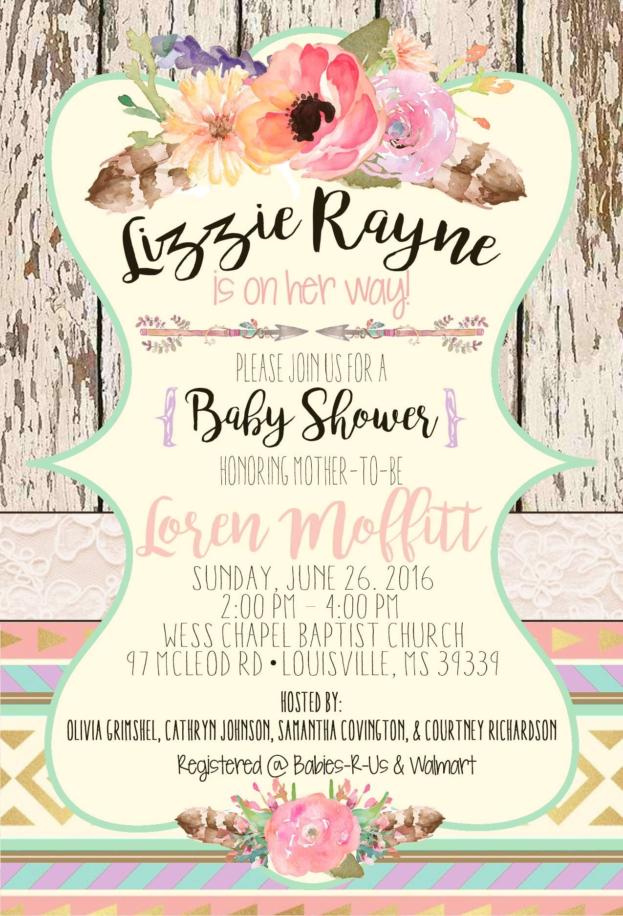 Baby Girl Shower Invitation! Designed by Loren\'s Layouts! Flowers ...