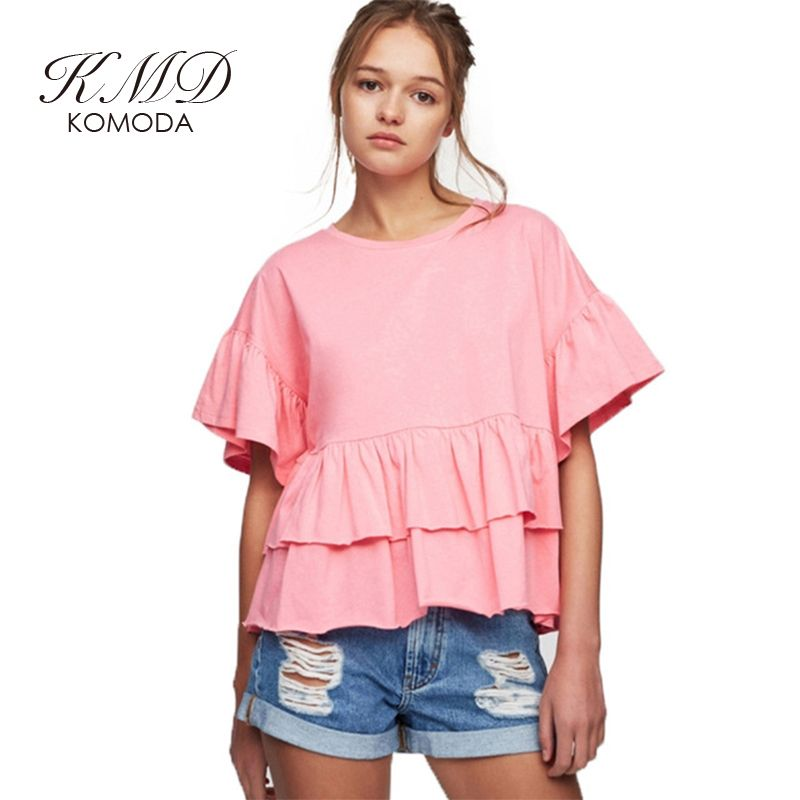 ef709b457c1cd RichLuLu 2017 Fashion Loose Blouse Women Casual Cute Butterfly Sleeve  O-neck Tops Brief Ruffles Solid 2 Colors Summer Shirt