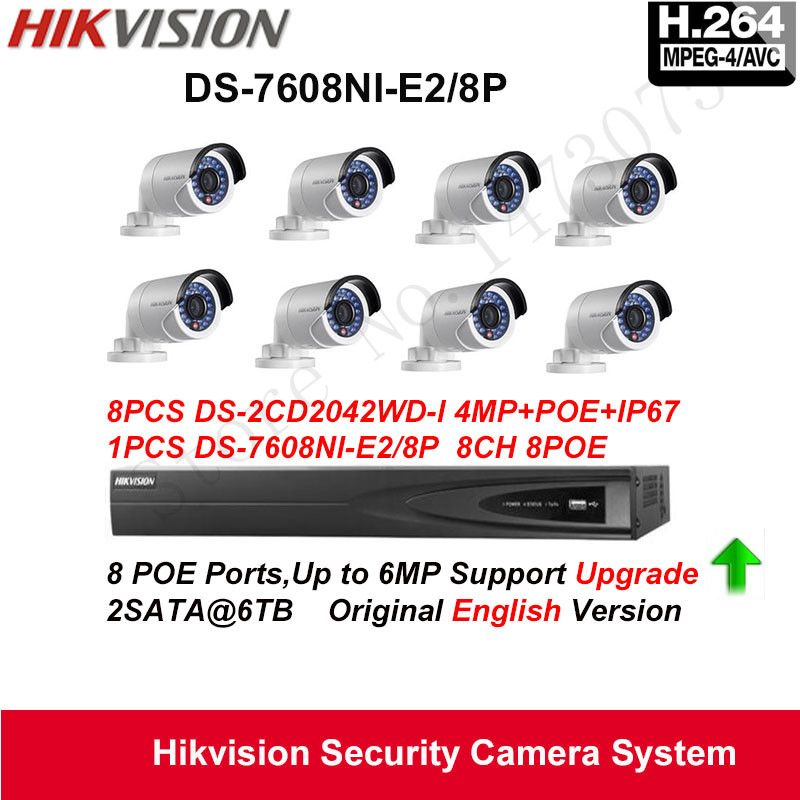 Hikvision Security Camera System 4mp Mini Bullet Ip Camera 8pcs Ds