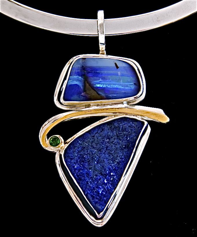 Ocean Magic Pendant - Cynthia Downs - Australian boulder opal, azurite & sapphire, 22k gold, fine & sterling silver.