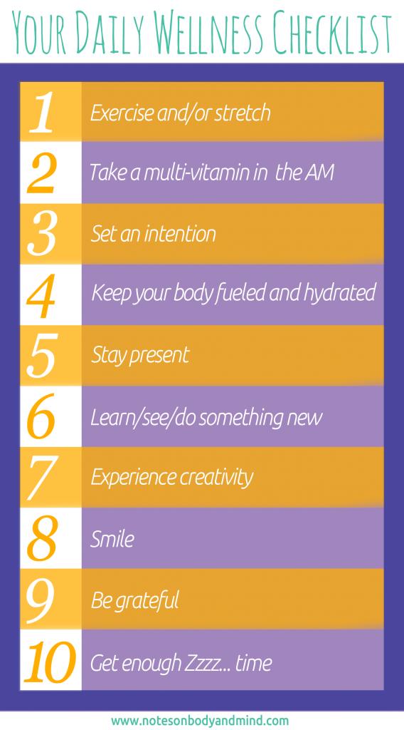 daily wellness checklist www notesonbodyandmind com usefuls