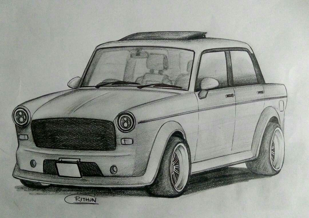 Fiat Premier Padmini Modified Amazing Sketch Almacenamiento De