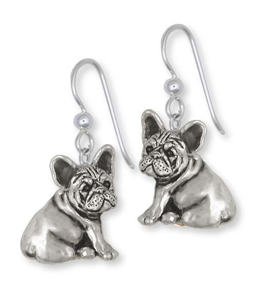 French Bulldog Earrings - Grey and White - Sterling Silver ThajF