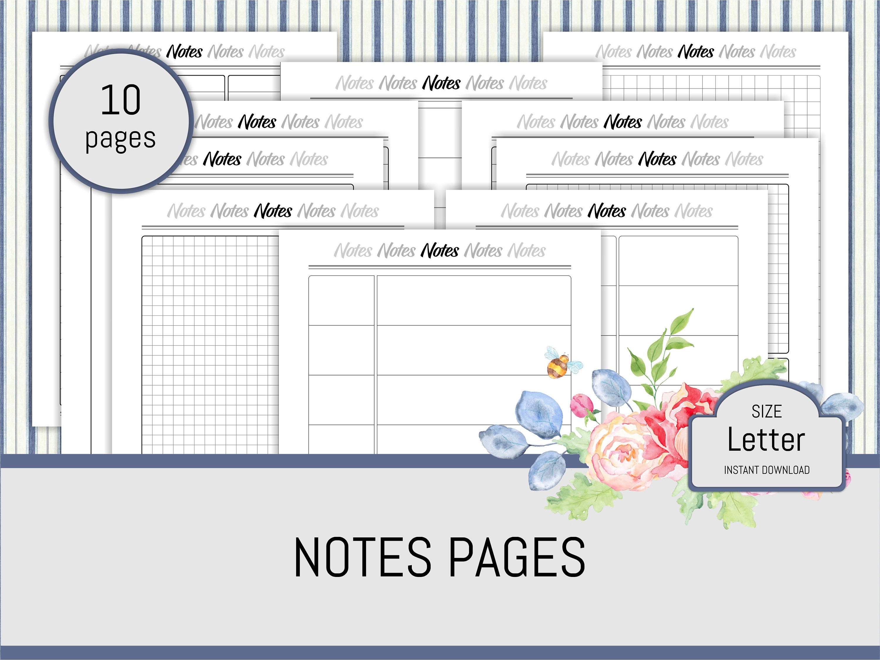 Notes Pages Worksheet Printable Planner Refill Notes