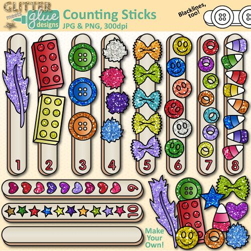 Image result for Glitter Glue Counting Sticks: