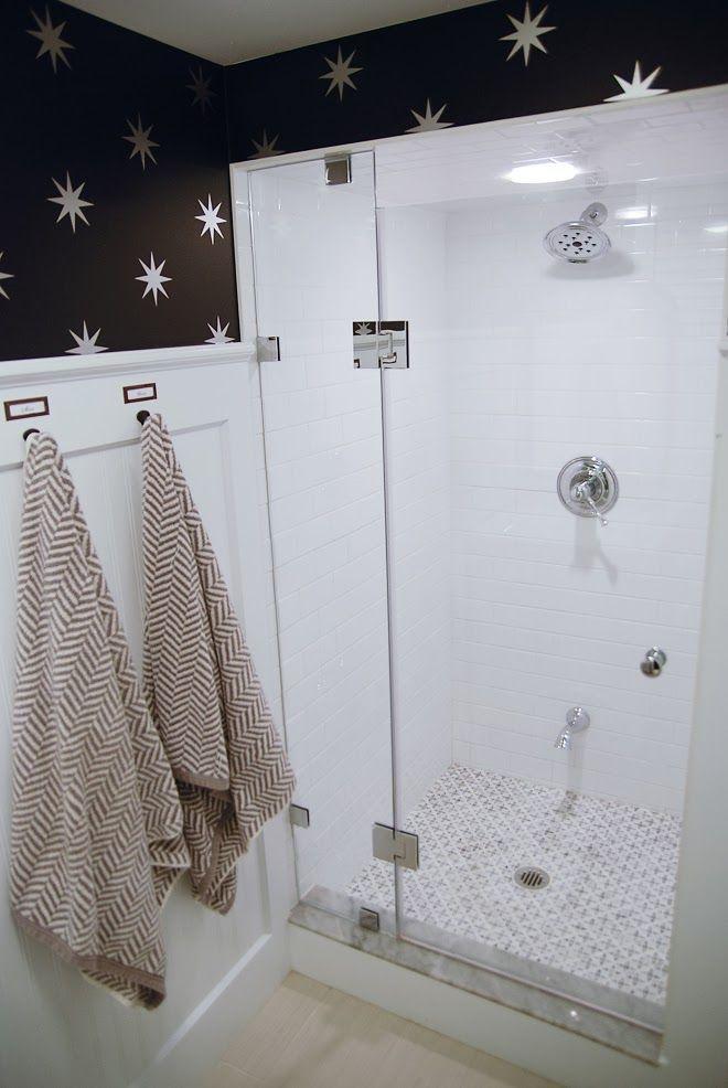 Rambling Renovators: Before & After: Modern Vintage Bathroom  Gorgeous shower tile