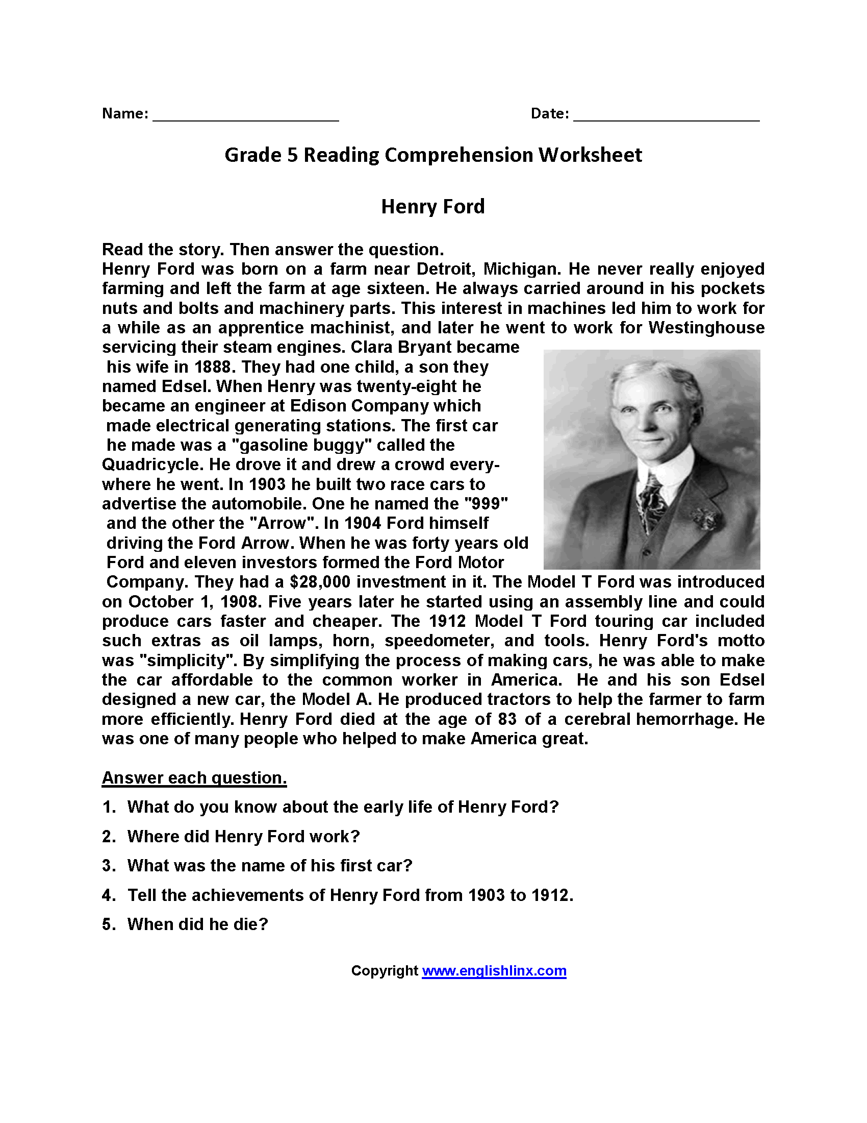 - Reading Worksheets Fifth Grade Reading Worksheets (With Images