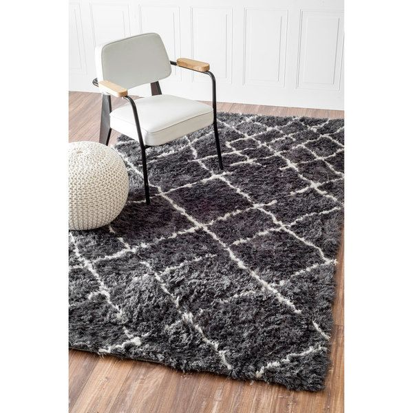 Nuloom Soft And Plush Moroccan Trellis Grey White Rug 5